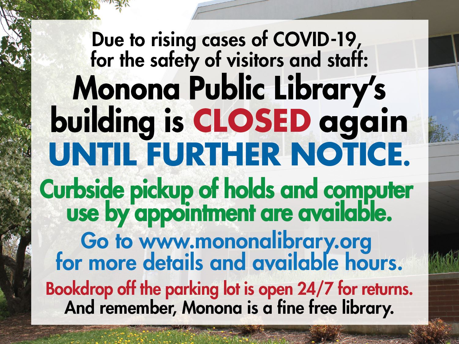 Library Closed due to virus