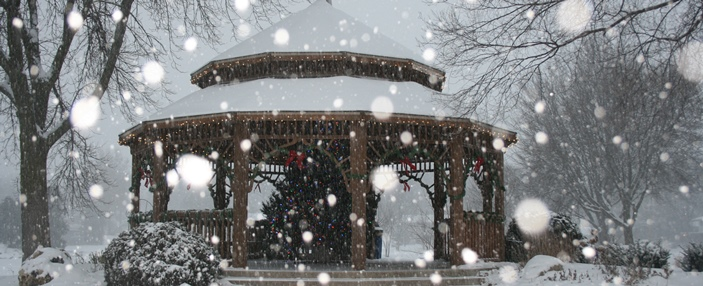 Gazebo at Winnequah Park during a snowfall
