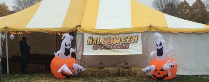 Halloween Spooktacular tent and sign