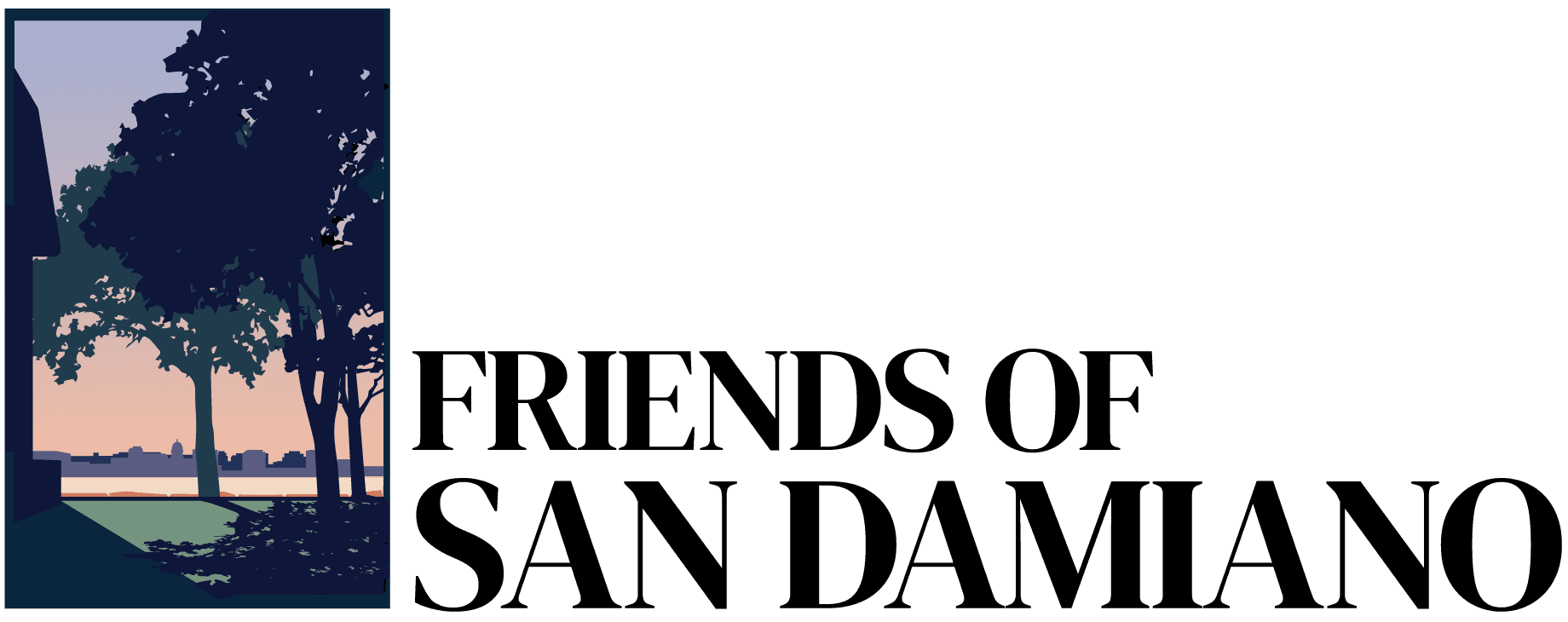 Friends of San Damiano Logo with image of lake view and trees