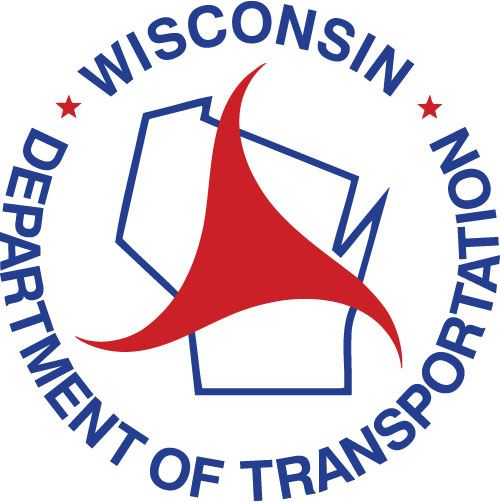 Wisconsin Department of Transportation logo - outline of WI with words